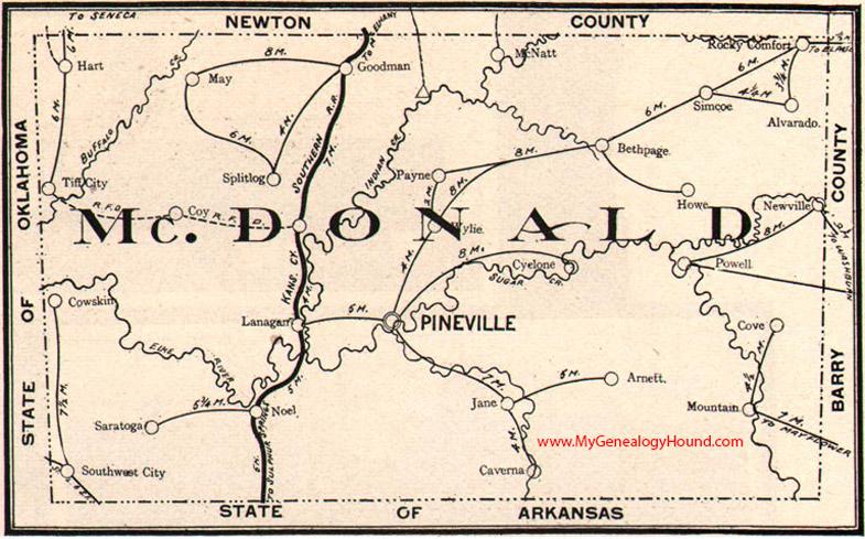 Mcdonald County Missouri 1904 Map Pineville Noel