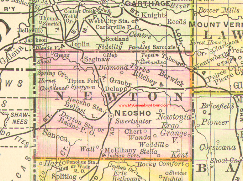 Newton County, Missouri 1888 Map