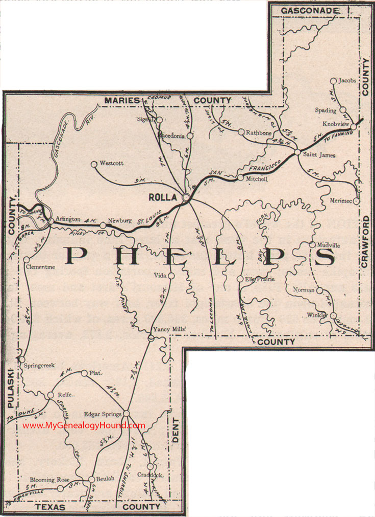 Phelps County Missouri Map - Mo county map