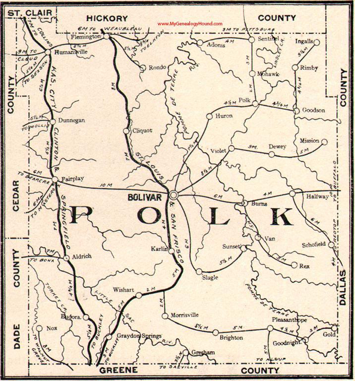 Polk County Missouri Map - Mo county map