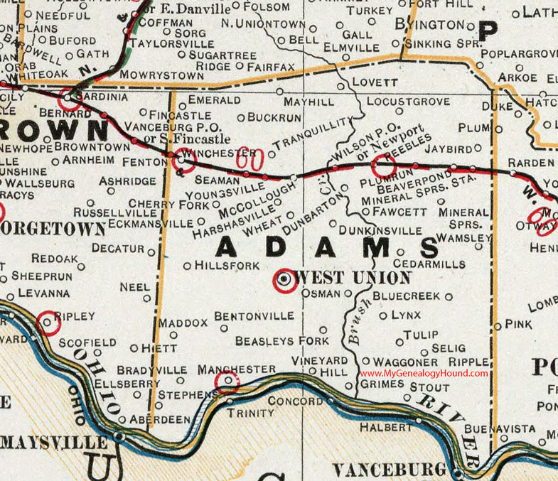 Union Ohio Map.Adams County Ohio 1901 Map West Union Oh