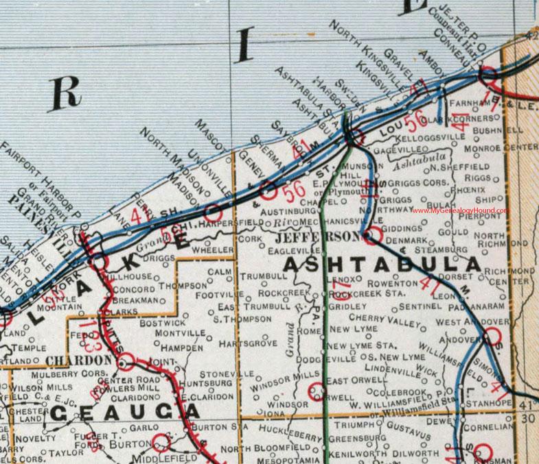 Ashtabula County, Ohio 1901 Map Conneaut, OH