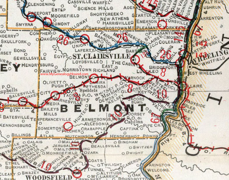 Belmont County Ohio Map St Clairsville OH - Ohio map