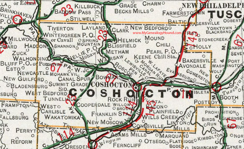 Coshocton County, Ohio 1901 Map West Lafayette, OH