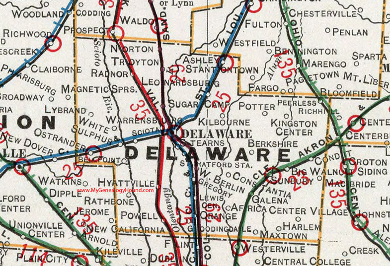 Delaware County, Ohio 1901 Map Sunbury, OH