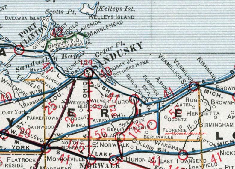 Erie County Ohio 1901 Map Sandusky Oh