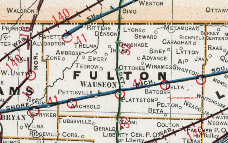 Fulton County Ohio 1901 Map Wauseon OH