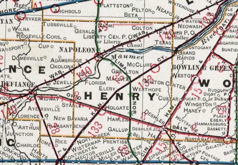 Deshler Ohio Map.Henry County Ohio 1901 Map Napoleon Oh