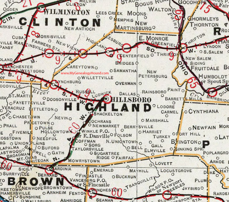 Highland County, Ohio 1901 Map Hillsboro, OH