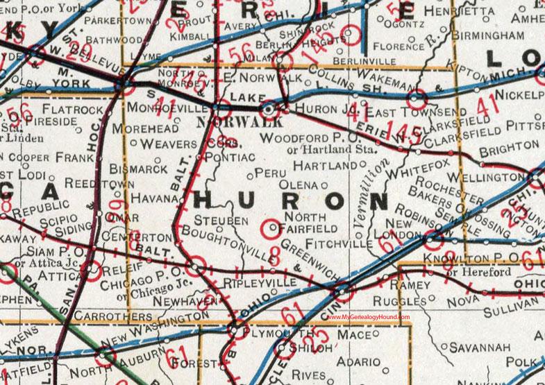 New London Ohio Map.Huron County Ohio 1901 Map Norwalk Oh