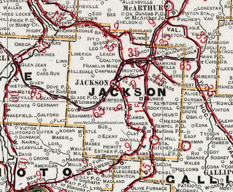 Jackson County Ohio 1901 Map Wellston Oh