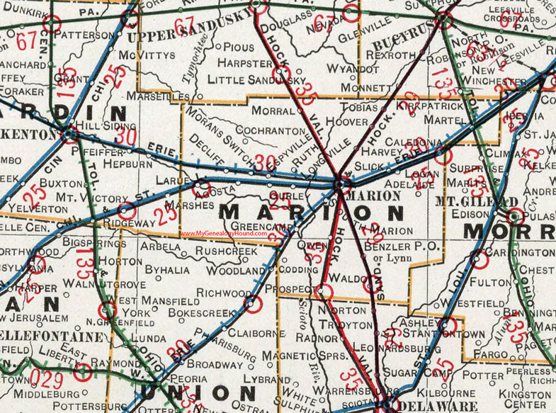 Waldo Ohio Map.Marion County Ohio 1901 Map Oh