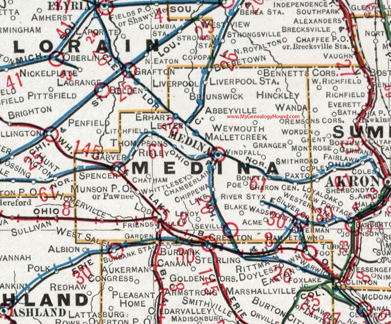Medina County Ohio 1901 Map OH