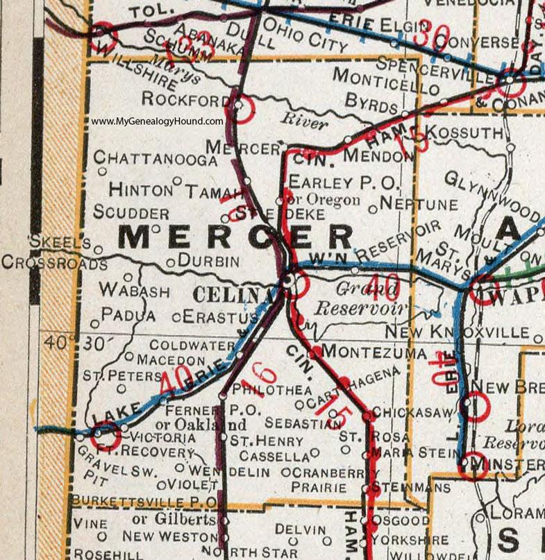 Mercer County Ohio 1901 Map Celina OH