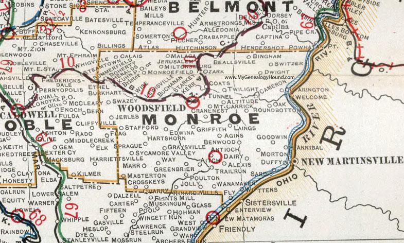 Woodsfield Ohio Map.Monroe County Ohio 1901 Map Woodsfield Oh