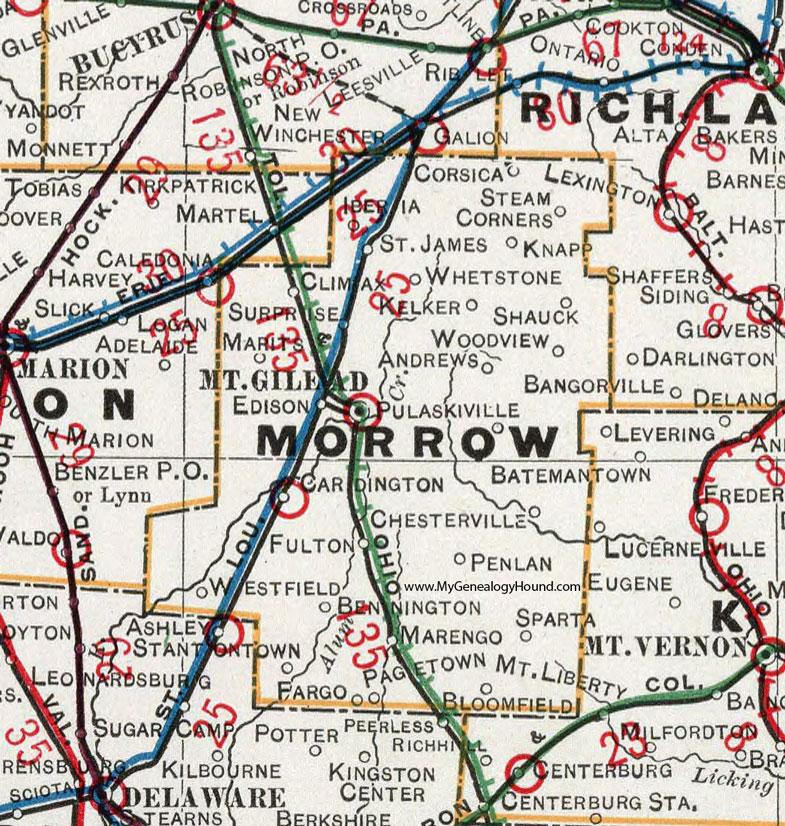 Marengo Ohio Map.Morrow County Ohio 1901 Map Mount Gilead Oh