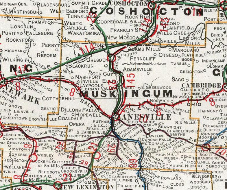 Muskingum County Ohio 1901 Map Zanesville Oh