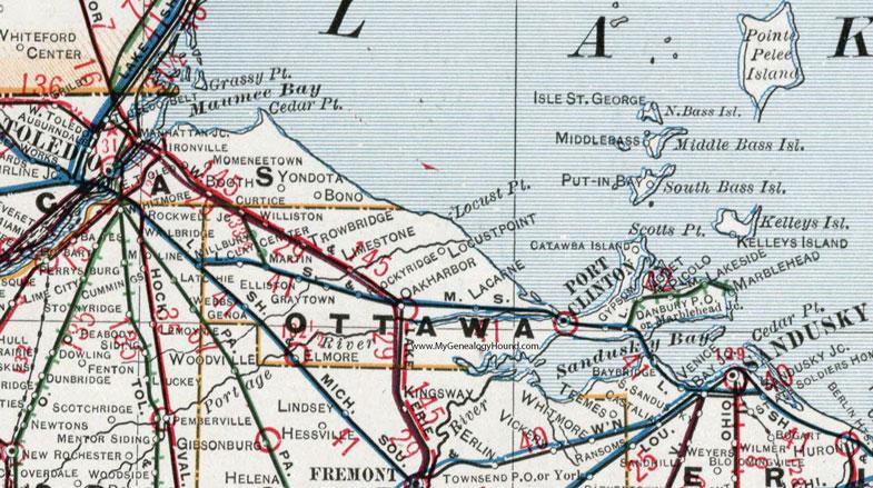 Genoa Ohio Map.Ottawa County Ohio 1901 Map Port Clinton Oh