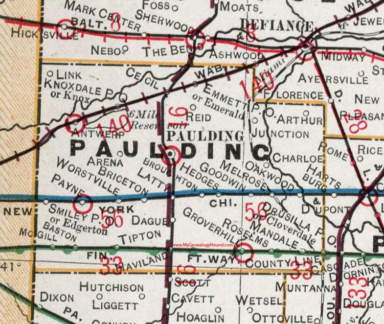 Paulding County Ohio 1901 Map Paulding Oh