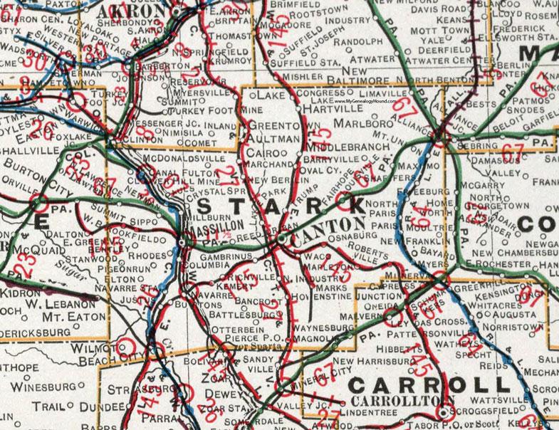 Stark County Ohio 1901 Map Canton Massillon Oh
