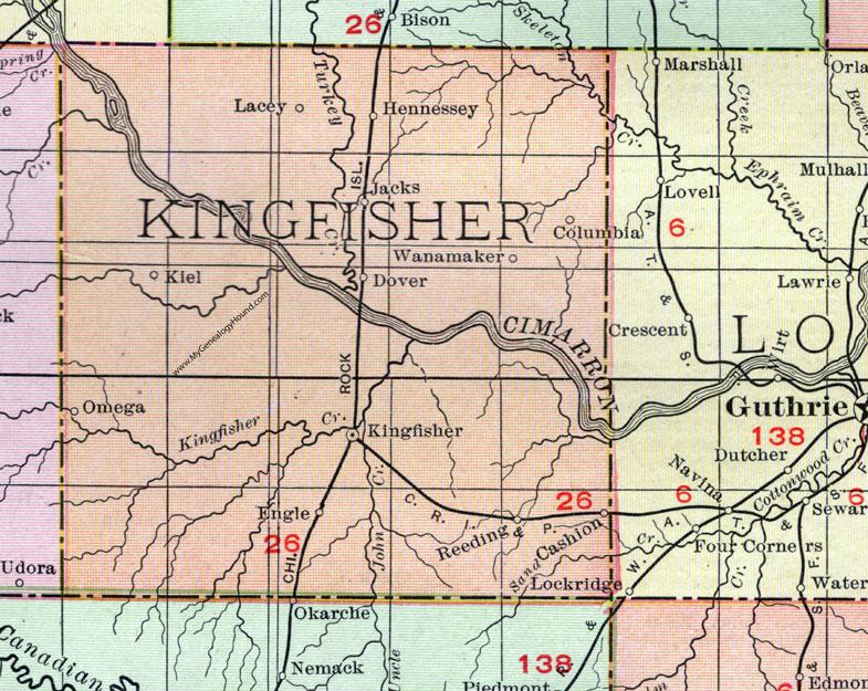 Kingfisher County Oklahoma Map.Kingfisher County Oklahoma 1911 Map Rand Mcnally Kingfisher City