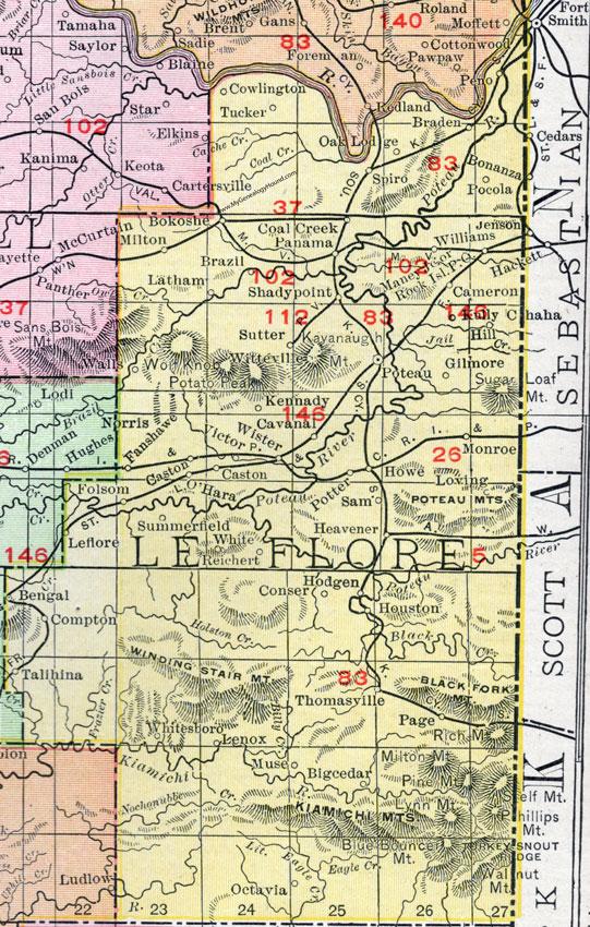 Talihina Oklahoma Map.Le Flore County Oklahoma 1911 Map Rand Mcnally Poteau Heavener