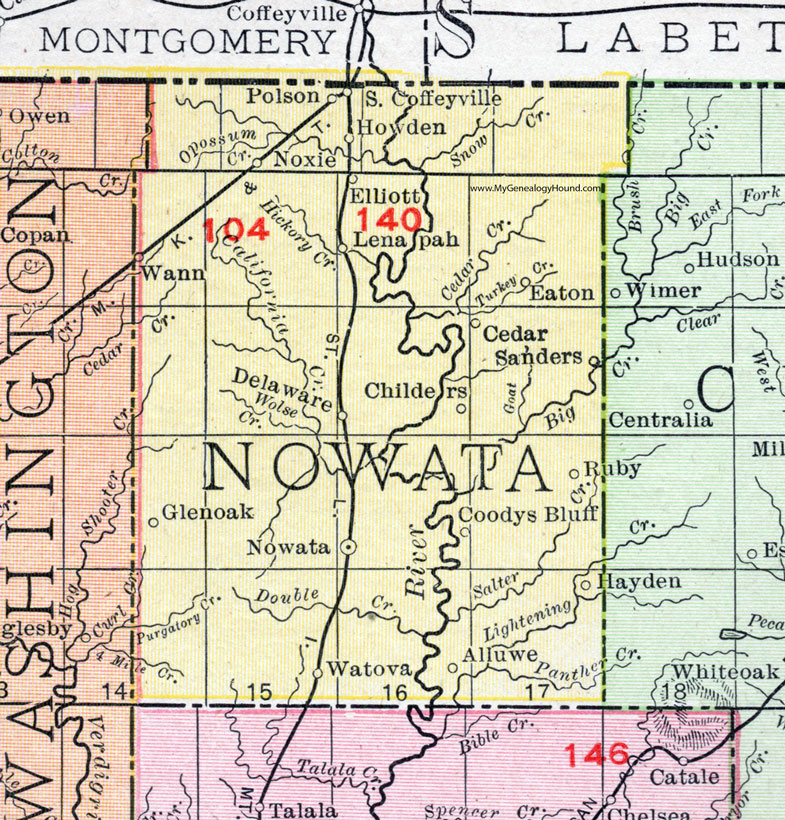 Nowata County, Oklahoma 1911 Map, Rand McNally, Nowata City, South on