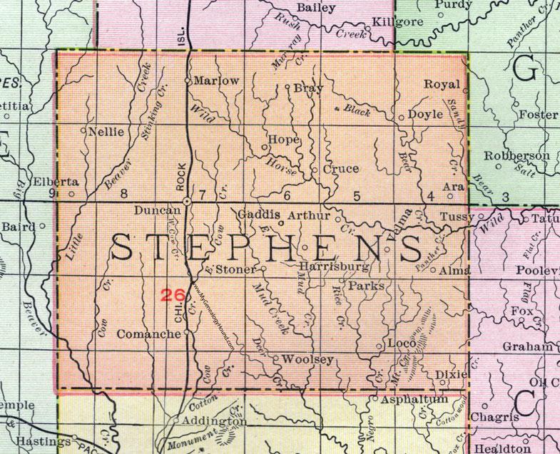 Stephens County Oklahoma 1911 Map Rand Mcnally Duncan Marlow