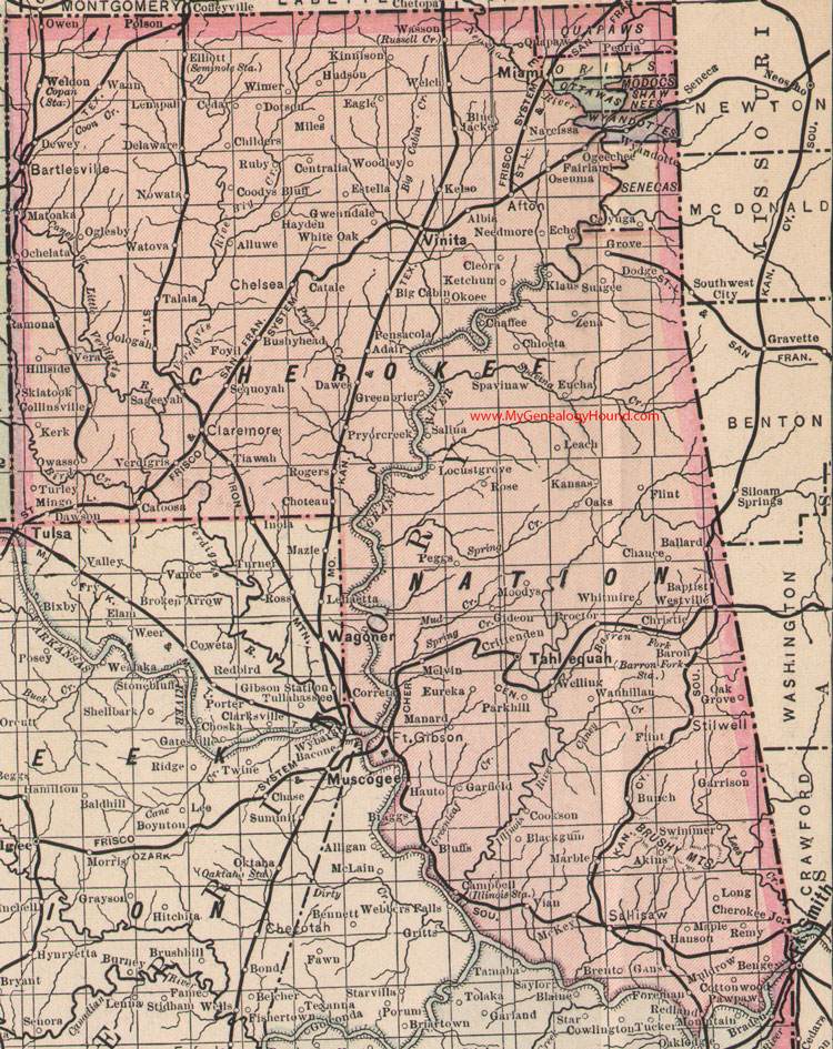 Cherokee Nation Indian Territory 1905 Map