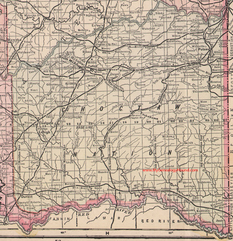 Choctaw Nation Indian Territory 1905 Map