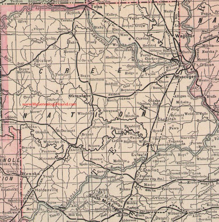 Creek Nation Indian Territory 1905 Map Tulsa Muskogee