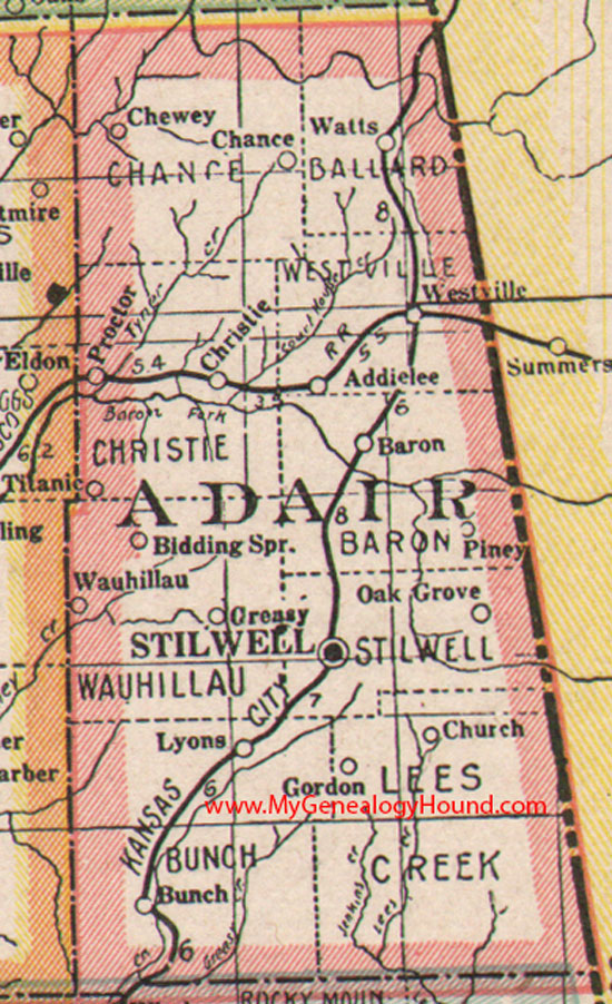 Adair County Oklahoma Map - Oklahoma county map
