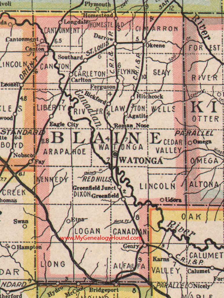 Blaine County Oklahoma Map - County map of oklahoma