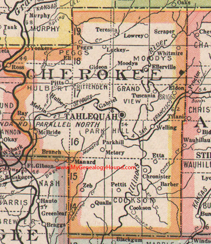 Cherokee County Oklahoma Map - Oklahoma counties map