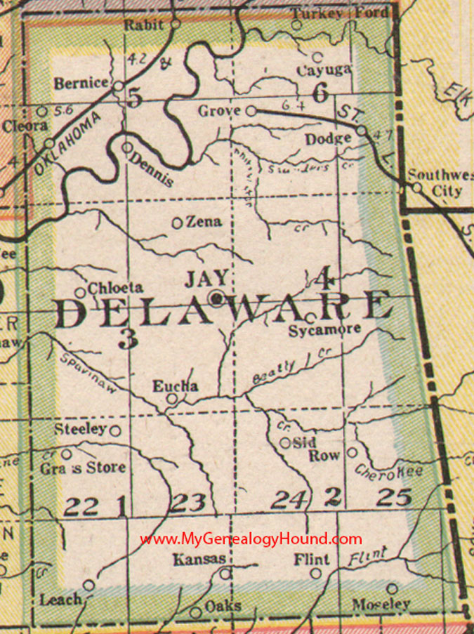 Delaware County Oklahoma Map - Oklahoma county map
