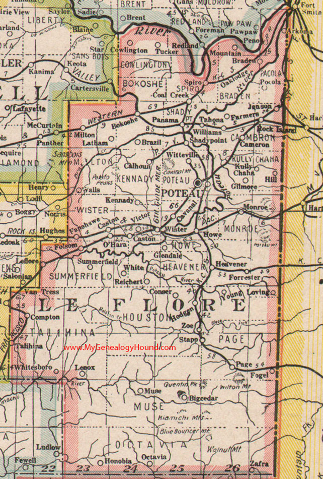 Leflore County Oklahoma Map.Le Flore County Oklahoma 1922 Map