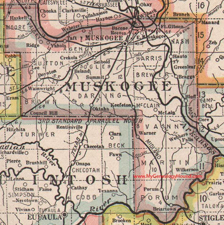Muskogee County Oklahoma 1922 Map