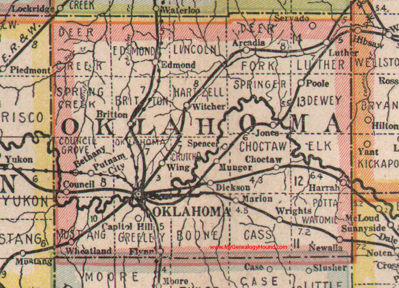 Muldrow (OK) United States  city pictures gallery : Oklahoma County Oklahoma 1922 Map Oklahoma City Arcadia Choctaw