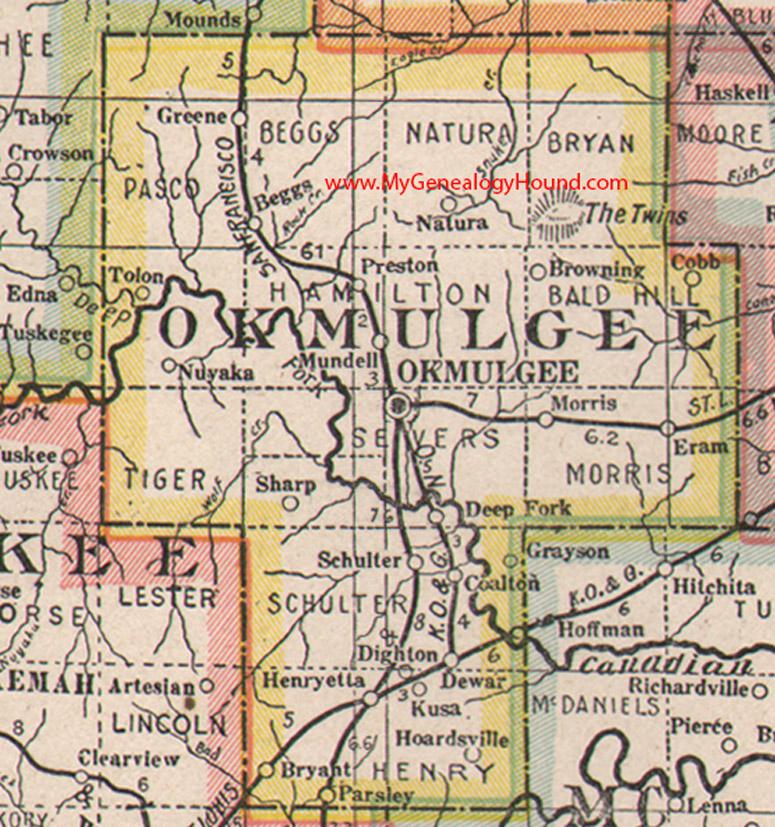 Okmulgee County Oklahoma 1922 Map