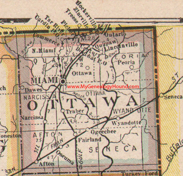 Ottawa County Oklahoma Map Ottawa County Oklahoma 1922