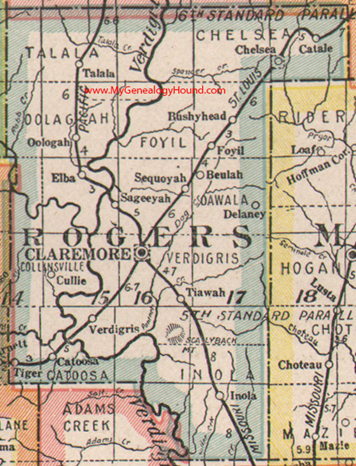 Rogers County Oklahoma 1922 Map
