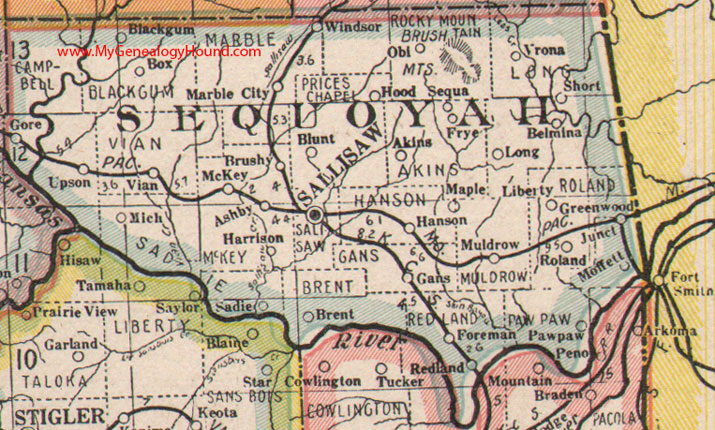 Sequoyah County Oklahoma Map - Ok map