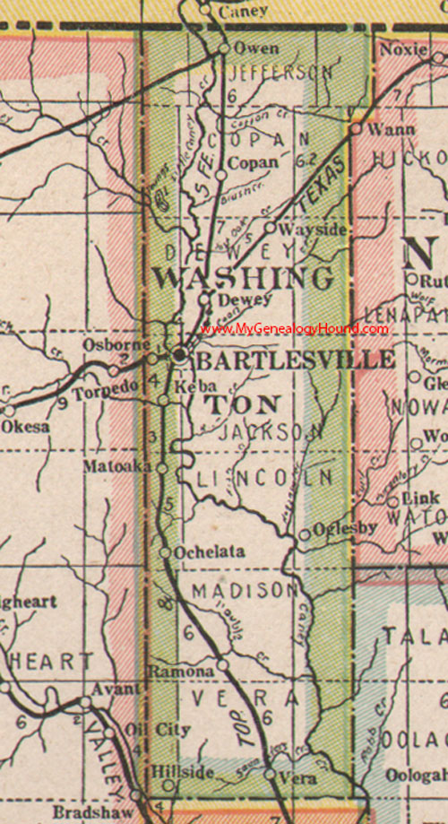 Washington County Oklahoma 1922 Map