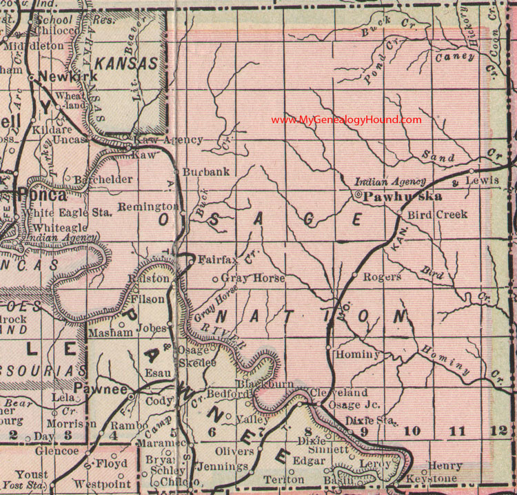 Osage Nation Indian Territory 1905 Map