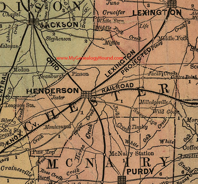 Henderson Tennessee Map.Chester County Tennessee 1888 Map