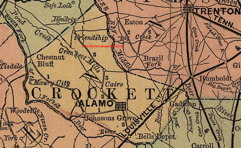 Crockett County, Tennessee 1888 Map