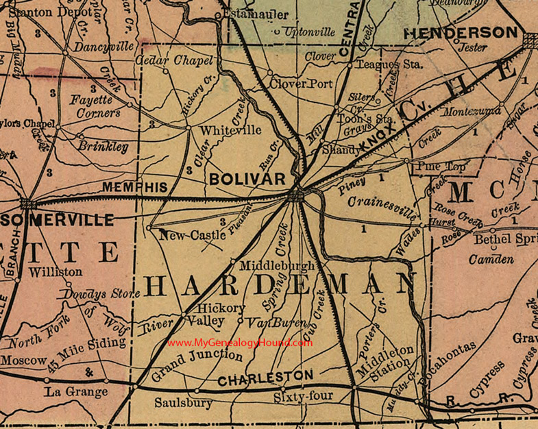 Tn State Map With Counties.Hardeman County Tennessee 1888 Map