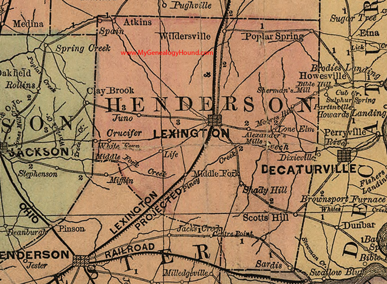 Henderson Tennessee Map.Henderson County Tennessee 1888 Map