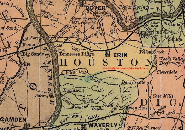 Houston County Tennessee 1888 Map: Map Of Houston County Tennessee At Usa Maps