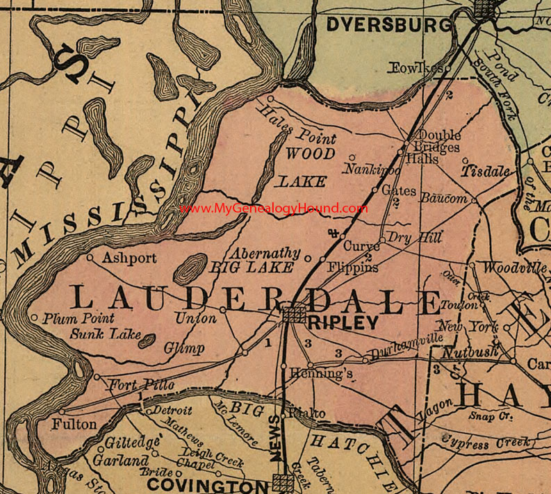 Lauderdale County, Tennessee 1888 Map